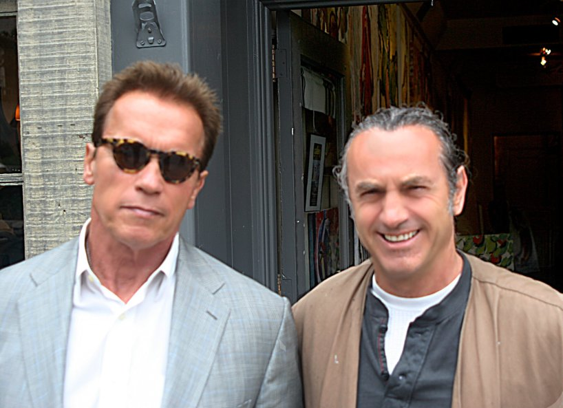 Governor Arnold Schwarzenegger and Blagojce visit in his Gallery in Carmel California
